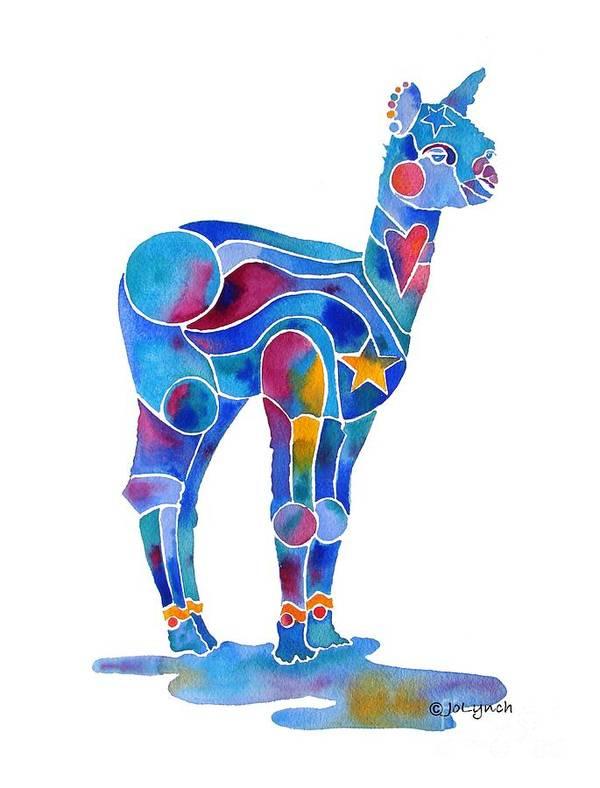Alpaca Art Print featuring the painting Alpaca Cria Heartz N Starz by Jo Lynch