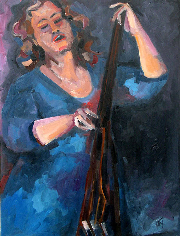 Blues Musician Art Print featuring the painting Andrafaye by Jackie Merritt