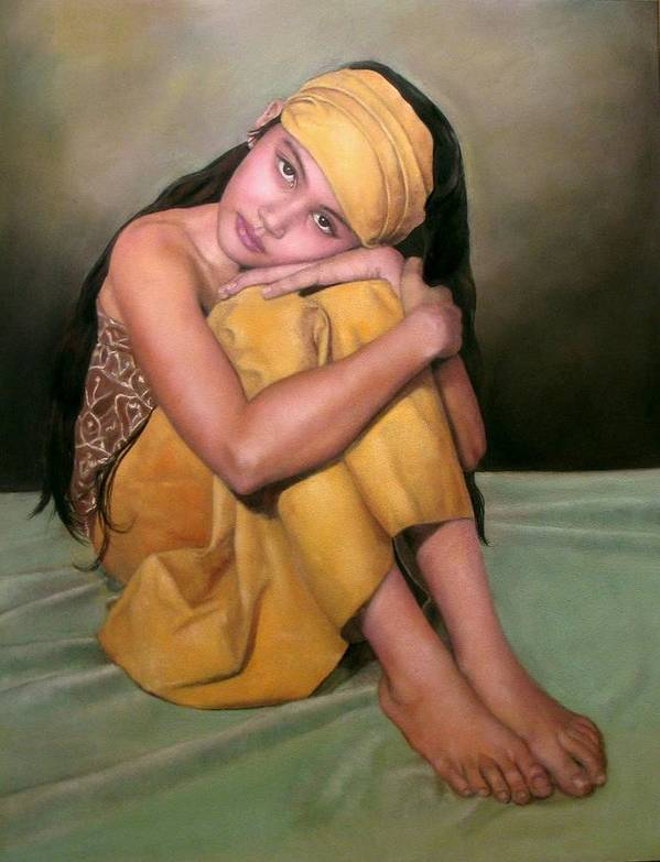 Woman Art Print featuring the pastel Angel Eyes by Margie Resto