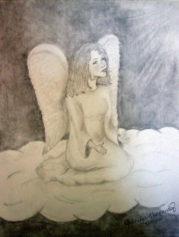 Angel Art Print featuring the drawing Angel by Jennifer Hernandez