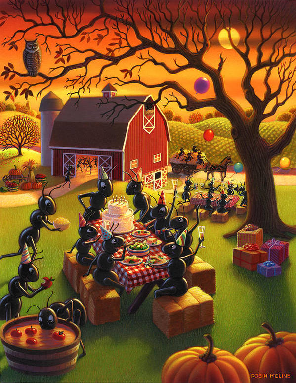 Ant Characters Art Print featuring the painting Ant Party by Robin Moline