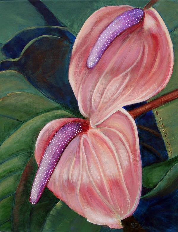 Anthurium Art Print featuring the painting Anthurium by SueEllen Cowan