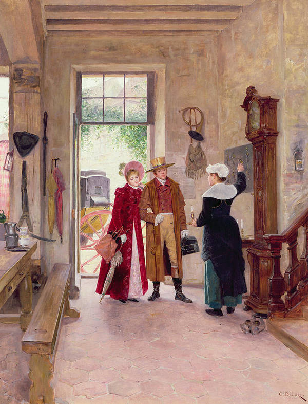Arrival Art Print featuring the painting Arrival At The Inn by Charles Edouard Delort
