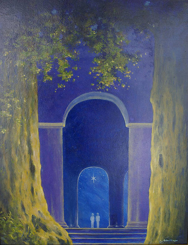 Landscape Art Print featuring the painting At Night In The Temple by Georg Schedlbauer