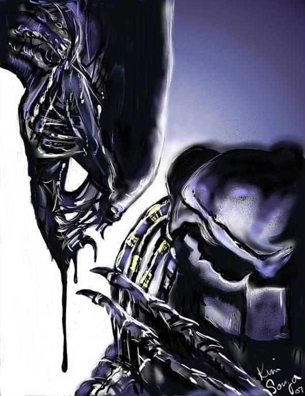 Alien Art Print featuring the digital art AVP by Kim Souza