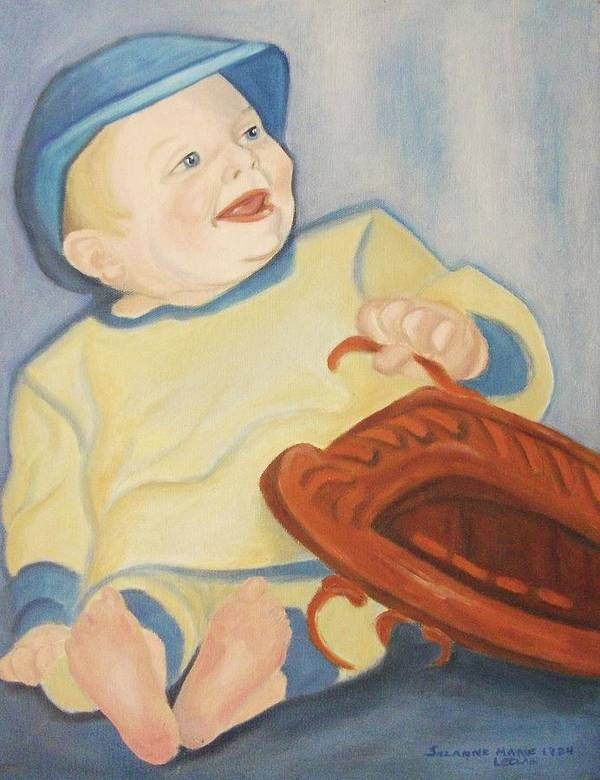 Baby Art Print featuring the painting Baby With Baseball Glove by Suzanne Marie Leclair