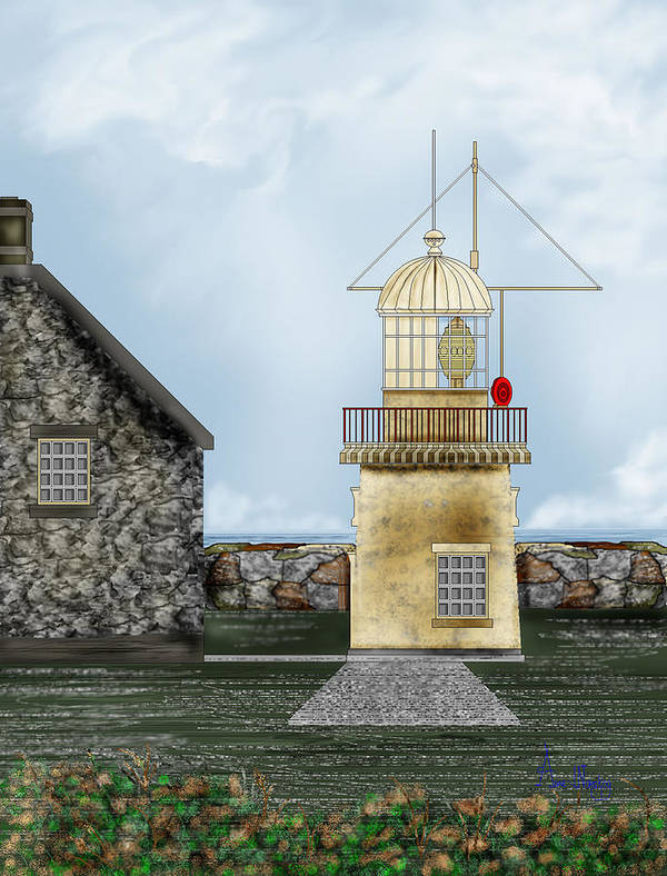 Lighthouse Art Print featuring the painting Ballinacourty Lighthouse At Waterford Ireland by Anne Norskog