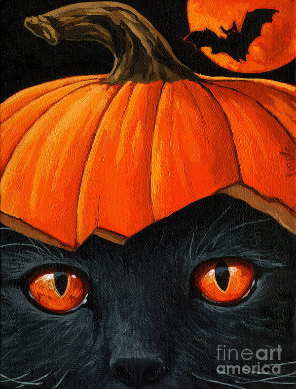 Black Cat Art Print featuring the painting Bats In The Belfry by Linda Apple