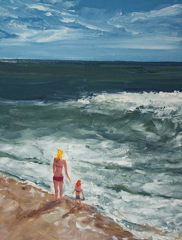 Ocean Art Print featuring the painting Beach Babes II by Pete Maier