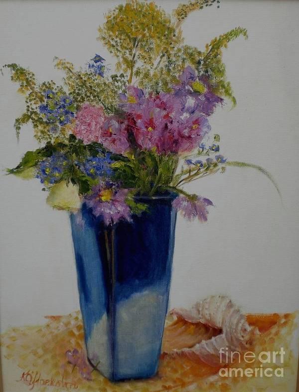 Wildflowers Art Print featuring the painting Beach Wildflowers      Copyrighted by Kathleen Hoekstra