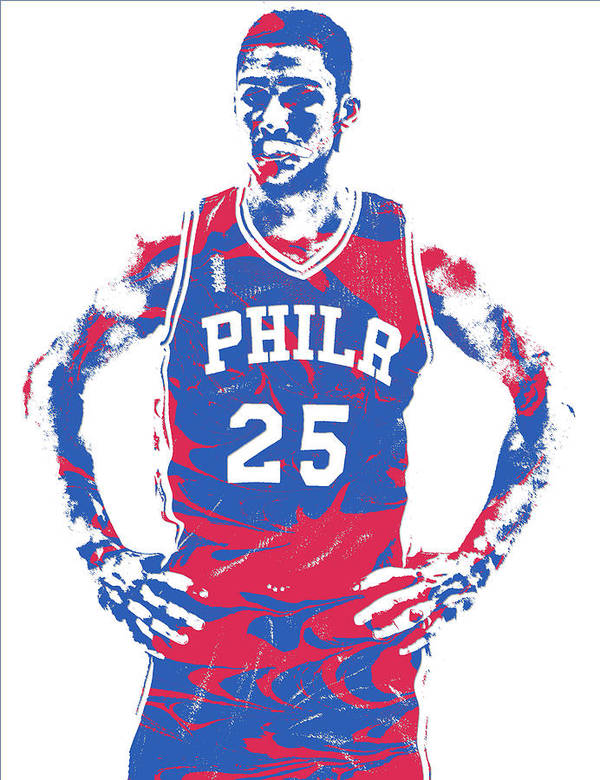a41f0ae4ec4 Ben Simmons Art Print featuring the mixed media Ben Simmons Philadelphia  Sixers Pixel Art 2 by