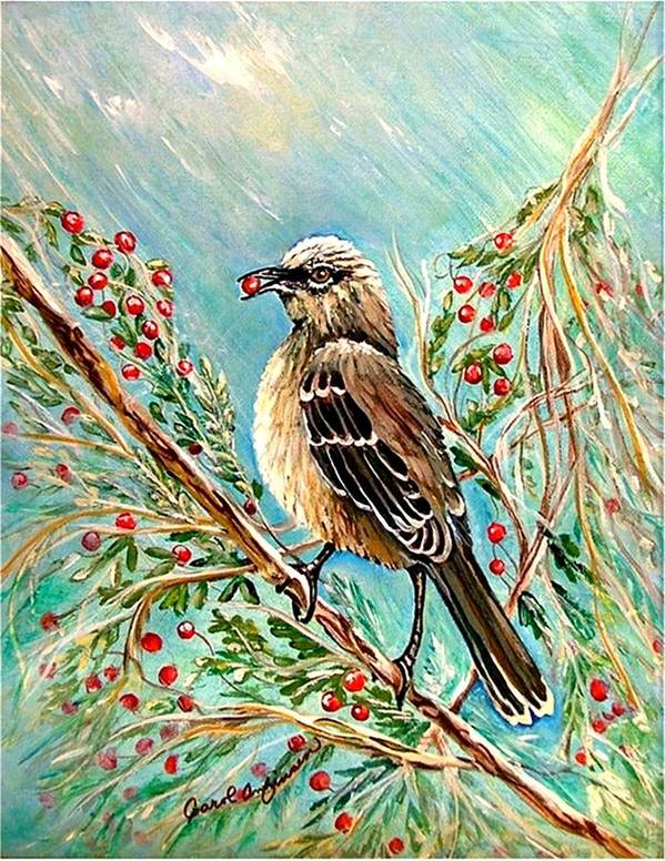 Mocking Bird Art Print featuring the painting Berry Picking Time by Carol Allen Anfinsen