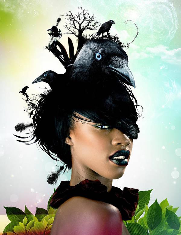 Crow Art Print featuring the digital art Bird Women by Pedro Ferreira
