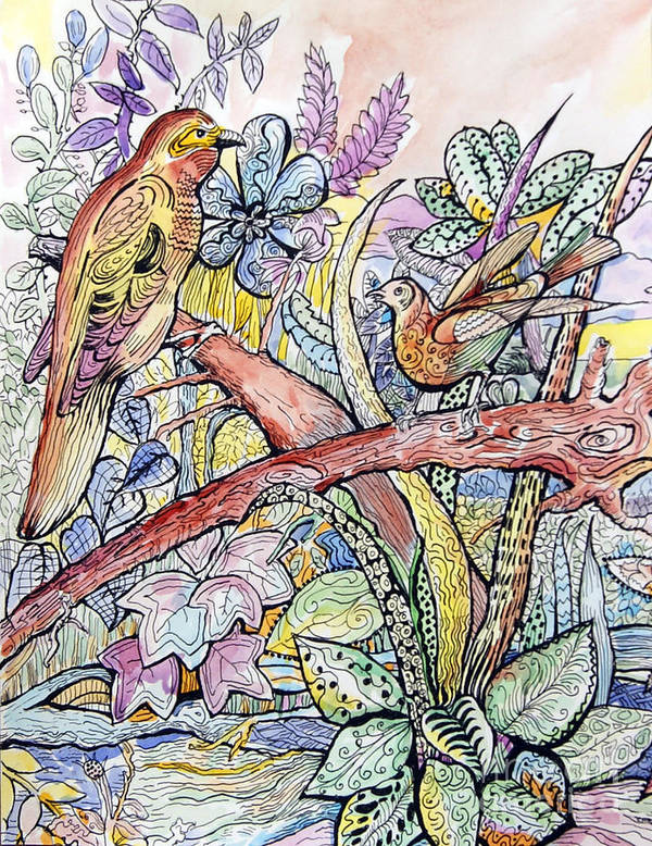 Birds Art Print featuring the painting Birds For Louise #3 by Carolyn Alston Thomas