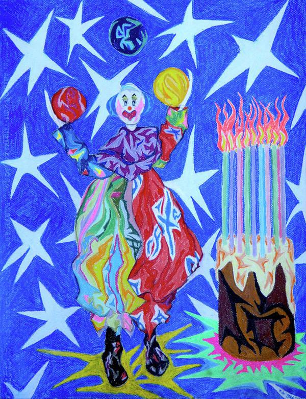 Birthday Print featuring the painting Birthday Clown by Robert SORENSEN