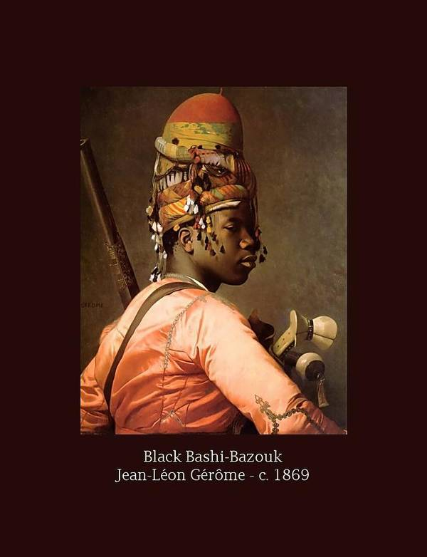 Jean-leon Gerome Art Print featuring the painting Black Bashi-bazouk - C. 1869 by Jean-Leon Gerome