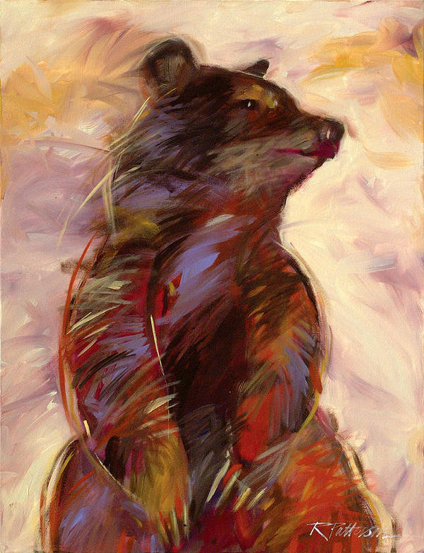 Nature Art Print featuring the painting Black Bear by Ron Patterson