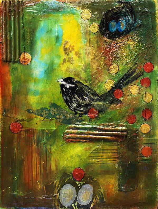 Mixed Media Painting Art Print featuring the mixed media Black Bird Come Home by Ishita Bandyo