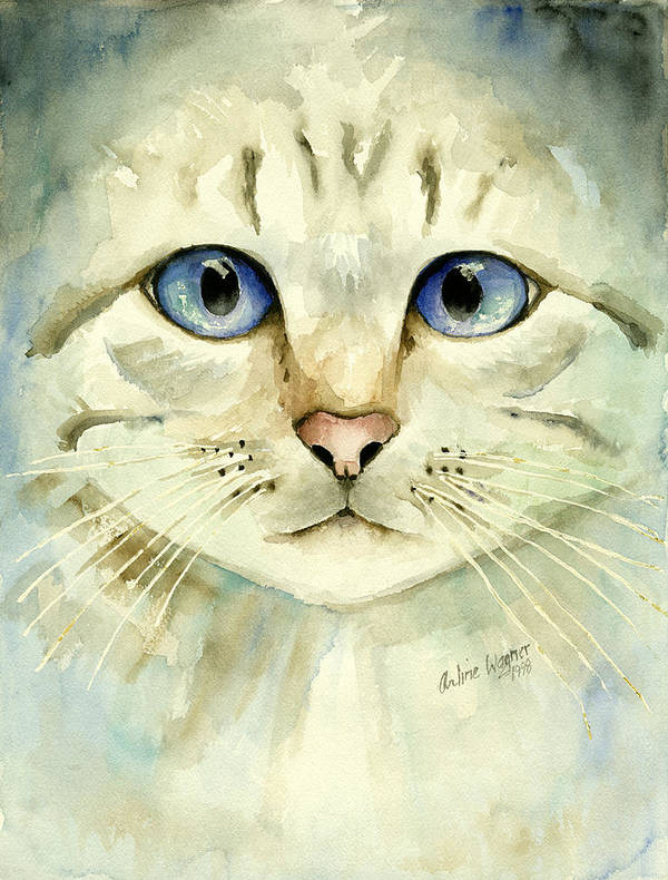 Cat Art Print featuring the painting Blue-eyed Cat by Arline Wagner