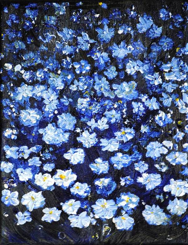 Flowers Art Print featuring the painting Blue Flowers by Evelina Popilian