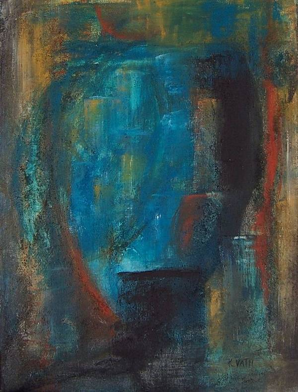 Abstract Art Print featuring the painting Blue Grotto by Karen Day-Vath