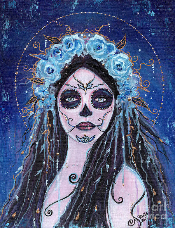 Day Of The Dead Art Print featuring the painting Blue Rosie by Renee Lavoie