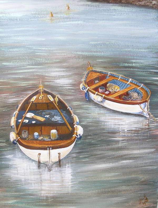 Boats Art Print featuring the painting Boats by Jan Lowe