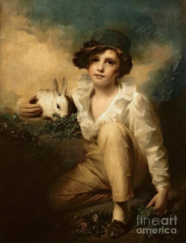 Boy Art Print featuring the painting Boy And Rabbit by Sir Henry Raeburn