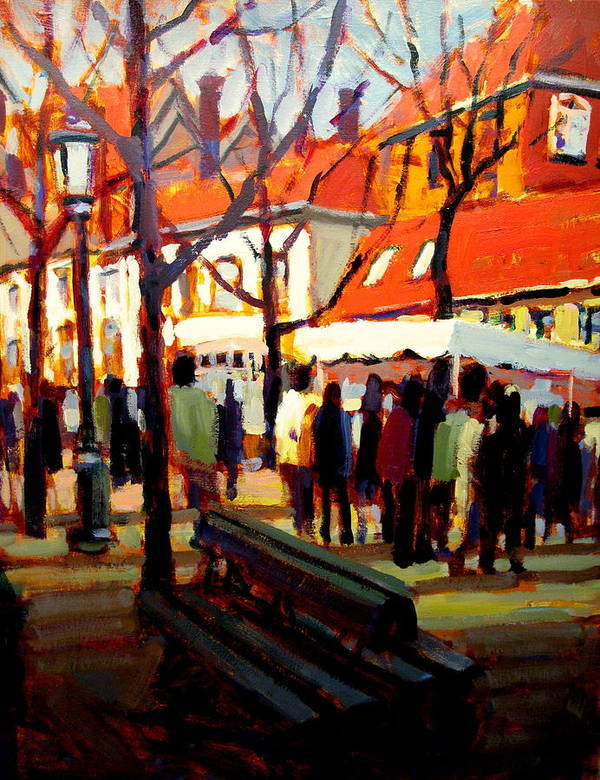 Landscape Paintings Art Print featuring the painting Brugg's Market by Brian Simons