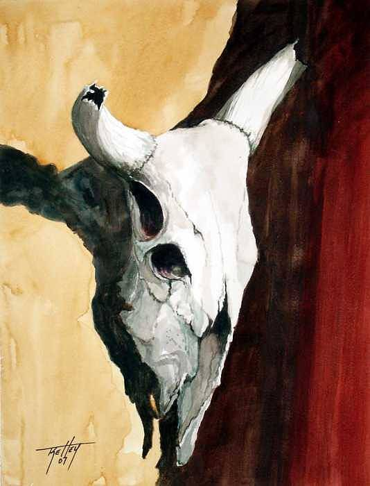 Skull Art Print featuring the painting By The Horns by Travis Kelley