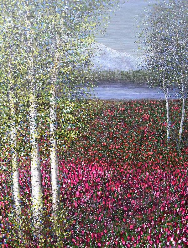 Quaking Aspen Trees Landscape Birch Art Print featuring the painting Calm Yet Quaking by Sally Van Driest