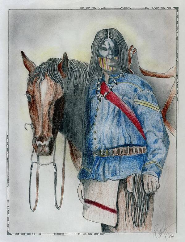 American Art Print featuring the drawing Calvary Scout by Jimmy Smith