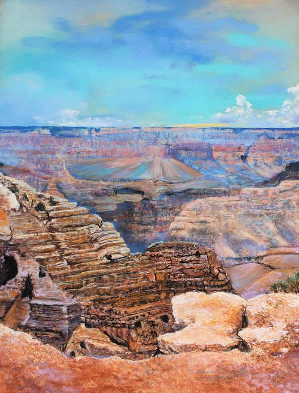 Landscape Art Print featuring the painting Canyon Blues by M Diane Bonaparte
