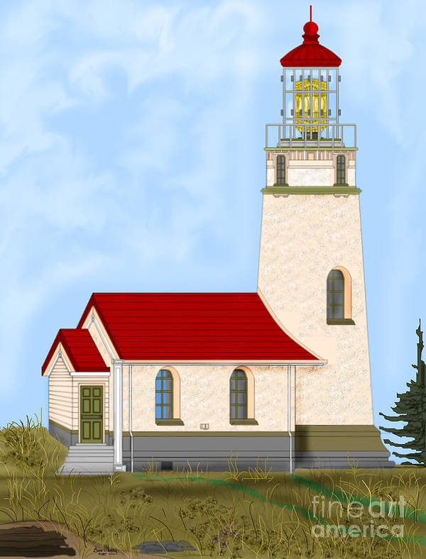Lighthouse Art Print featuring the painting Cape Blanco Oregon by Anne Norskog