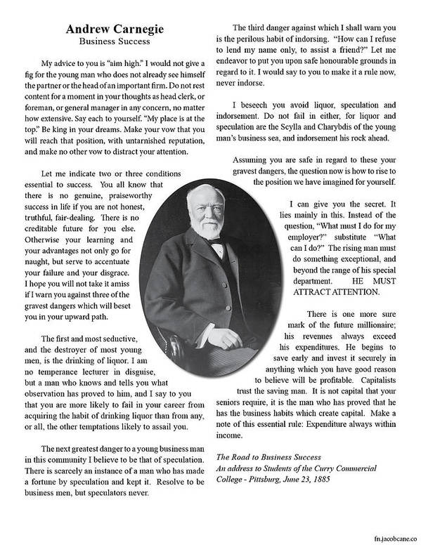 Andrew Carnegie Art Print featuring the photograph Carnegie- The Road To Business Success by Jacob Cane
