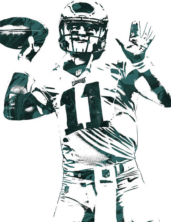 Carson Wentz Philadelphia Eagles Pixel Art Art Print By