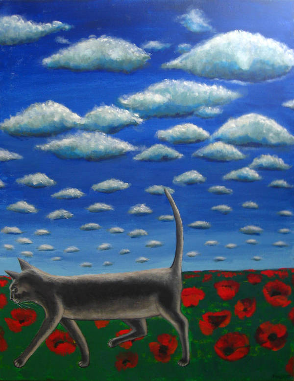 Cat Art Print featuring the painting Cat Who Walks Alone by Aliza Souleyeva-Alexander
