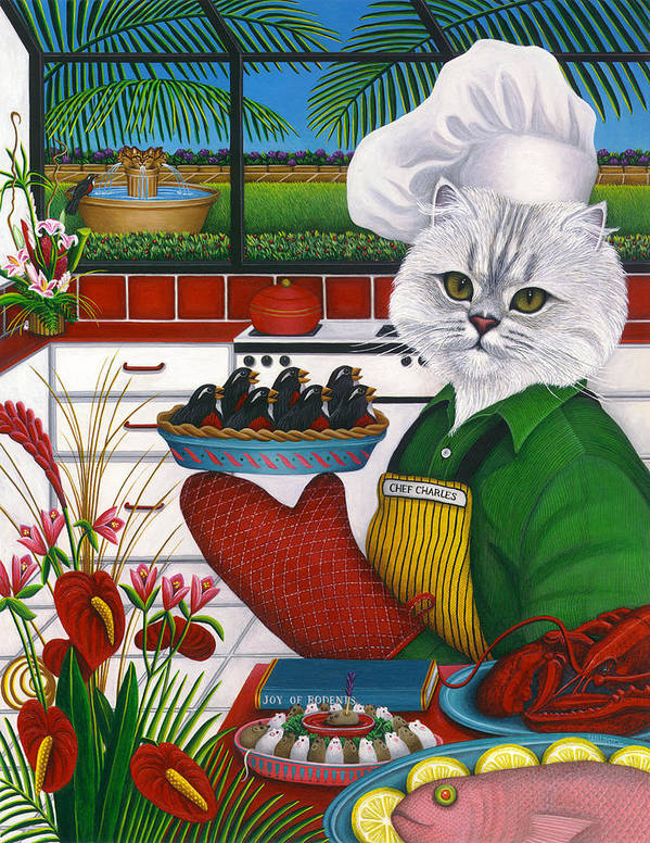 Persian Cat Art Print featuring the painting Chef Charles The Cat by Carol Wilson