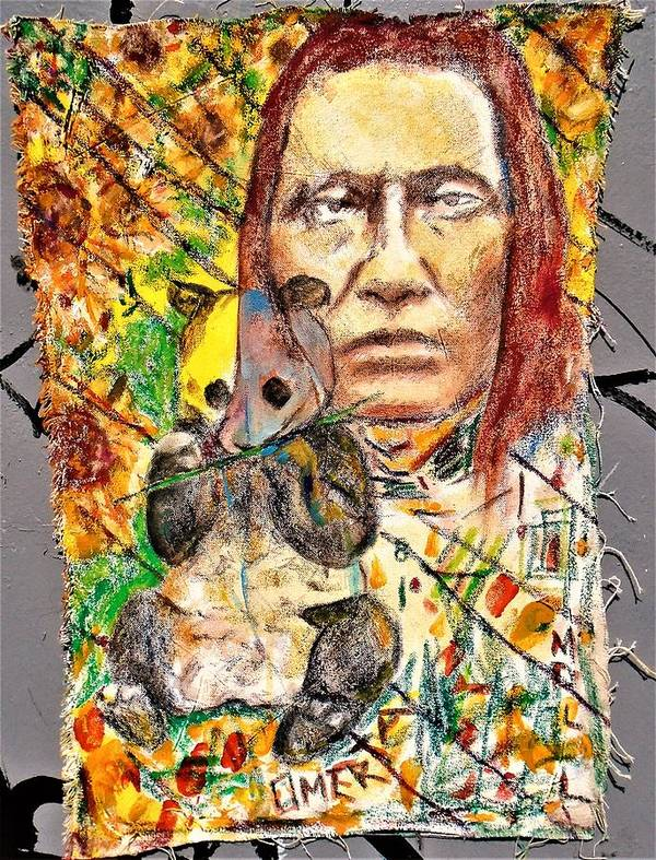 #omertamoll #art #deviantart #arte #mixedmedia #pandabear #portrait #painting #acrylic #oilpastels #contepencil #peinture #artista Art Print featuring the mixed media Cherokee Chief With Friend Mr.p by Teresa Omerta Moll-Arruza