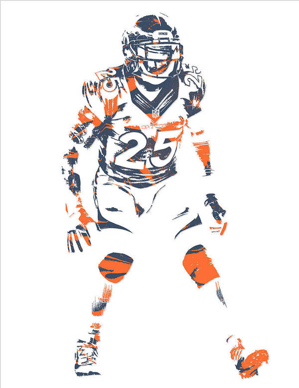 Chris Harris Jr Denver Broncos Pixel Art 5 Art Print by Joe Hamilton