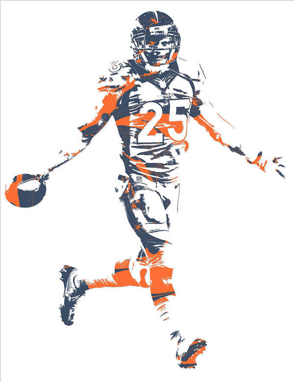 Chris Harris Jr Denver Broncos Pixel Art 6 Art Print by Joe Hamilton
