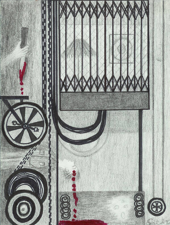 Elevator Art Print featuring the drawing Claude Harvey's Death. by Ingrid Szabo