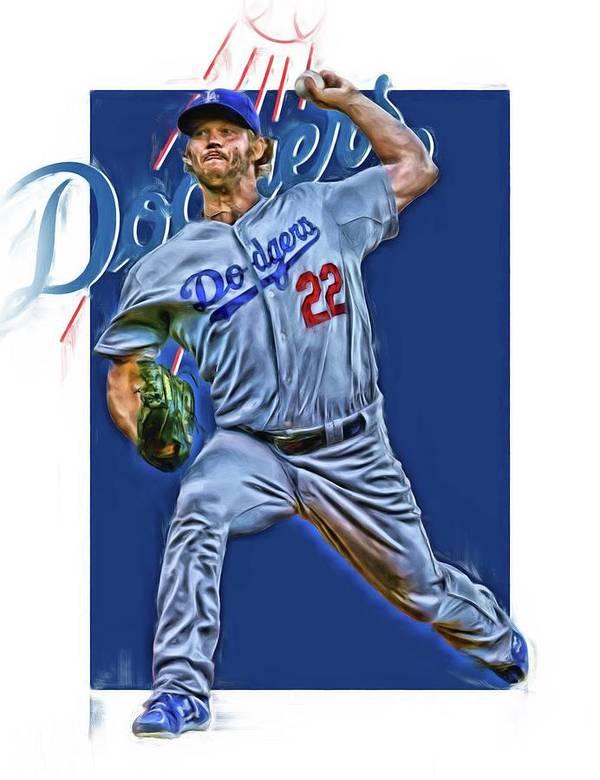 Clayton Kershaw Los Angeles Dodgers Oil Art Art Print By