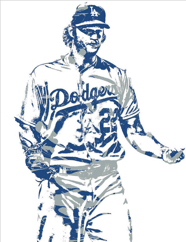 Clayton Kershaw Art Print featuring the mixed media Clayton Kershaw Los Angeles Dodgers Pixel Art 10 by Joe Hamilton