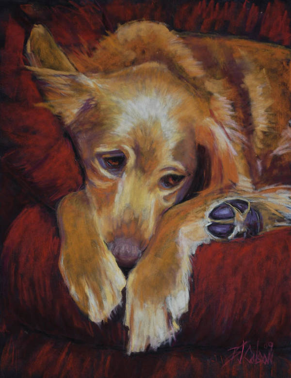 Sleeping Dog Art Print featuring the painting Close To Dreamland by Billie Colson