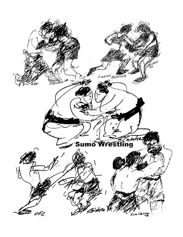 Combat Sports Art Print featuring the drawing Combat Sports by Sam Chinkes