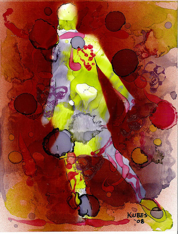 Woman Girl Female Impressionist Empowerment Art Print featuring the mixed media Coming Of Age by Susan Kubes