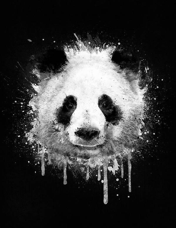 Panda art print featuring the digital art cool abstract graffiti watercolor panda portrait in black and