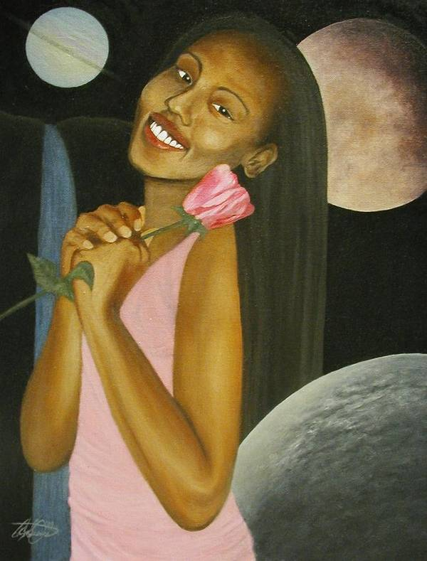 Portrait Art Print featuring the painting Cosmic Queen Courtney by Angelo Thomas