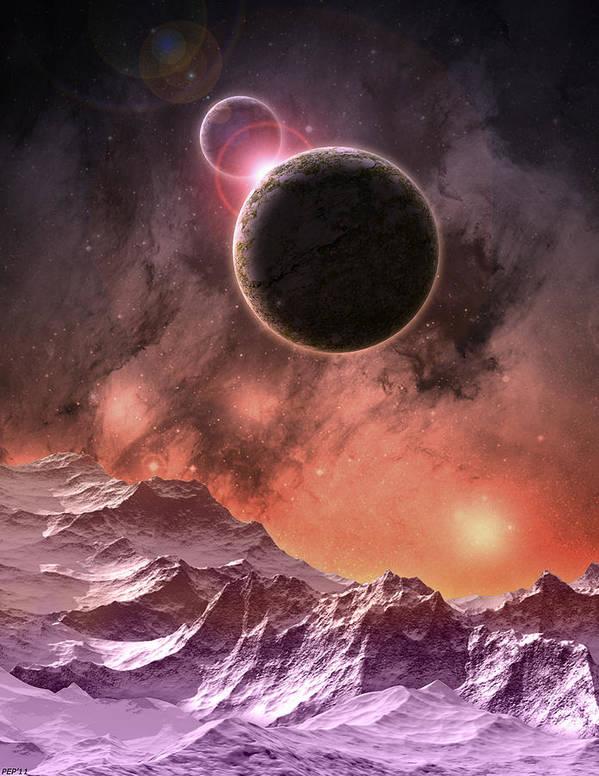 Digital Art Print featuring the digital art Cosmic Range by Phil Perkins
